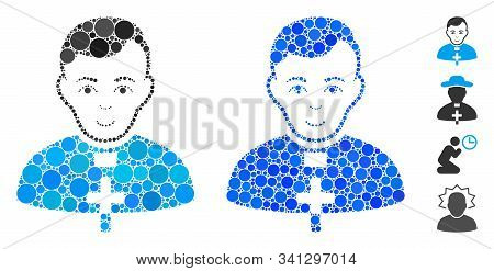Catholic Priest Mosaic Of Filled Circles In Various Sizes And Shades, Based On Catholic Priest Icon.
