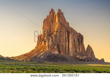 Shiprock, New Mexico, USA at the Shiprock rock formation.