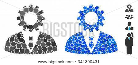 Soulless Official Bureaucrat Mosaic Of Round Dots In Various Sizes And Color Tints, Based On Soulles