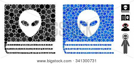 Alien Catalog Mosaic Of Round Dots In Various Sizes And Shades, Based On Alien Catalog Icon. Vector