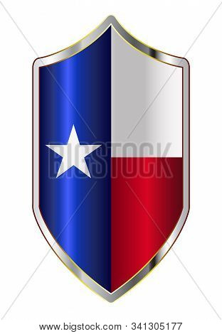 A Typical Crusader Type Shield With The State Flag Of Texas All Isolated On A White Background