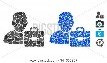Accounting Mosaic Of Round Dots In Various Sizes And Shades, Based On Accounting Icon. Vector Round