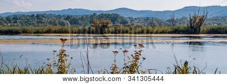 Wide Landscape Of Italian Lake Posta Fibreno Nature Reserve Amid The Italian Apennine Mountains Of T