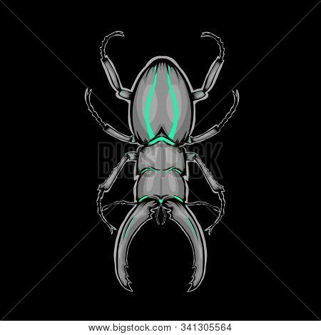 Mascot Of Bumblebee With Line Tosca On Black Background