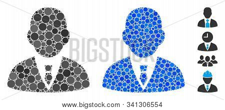 Boss Mosaic Of Filled Circles In Different Sizes And Color Hues, Based On Boss Icon. Vector Filled C