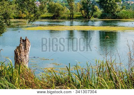 Lake Landscape Of Posta Fibreno Nature Reserve Amid The Italian Apennines Mountains Of The South-eas