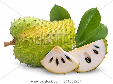 Soursop Or Custard Apple Fruit Isolated On White Background