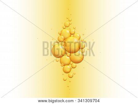 Gold Oil Bubbles. Vector Blink Collagen Capsules. Golden Balls Template. Vector Realistic Serum Drop
