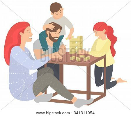 Mother And Father With Kids At Home Vector, Isolated Family Playing Board Game Jenga. Fun Time Of Pa