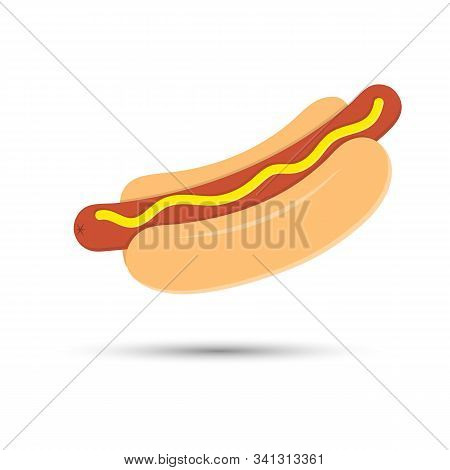 Colored Sausage Icon With Mustard In A Bun Isolated On White Background For Web Pages, Applications,