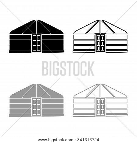 Yurt Of Nomads Portable Frame Dwelling With Door Mongolian Tent Covering Building Icon Outline Set B