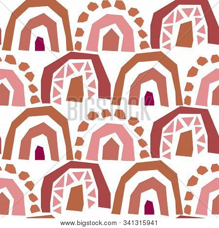 Rainbow Cut Out Paper Abstract Modern Shapes Seamless Pattern. Rouge Brown Repeat Background For Wra