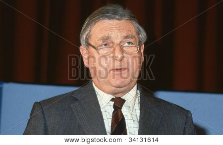 LONDON - DECEMBER 1: Rt.Hon. Sir Patrick Mayhew, Attorney General and Conservative party Member of Parliament for Tunbridge Wells, speaks at a party conference on December 1, 1990 in London.