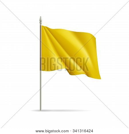 Yellow Rectangular Flag On Flagpole Isolated On White Background. Realistic Expo Banner For Outdoor