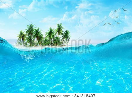View of sandy beach on a small island with coconut palms. Crystal clear waters of the tropical sea. Splashing waves. 3D illustration.