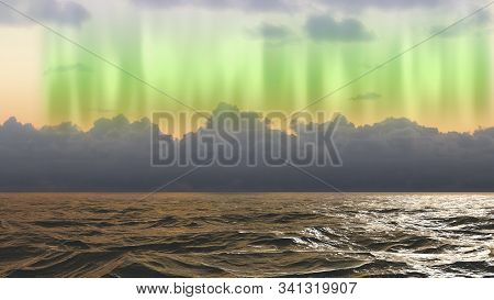 Stormy Weather On The Ocean With Northern Lights In The Atlantic Ocean
