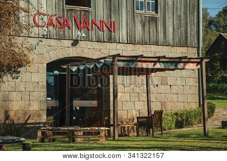Bento Goncalves, Brazil - July 11, 2019. Entrance Door Of Restaurant Casa Vanni, In A Charming Old R