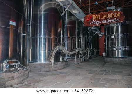 Bento Goncalves, Brazil - July 13, 2019. Stainless Steel Storage Tanks For Wine At The Don Laurindo