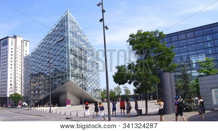 Copenhagen, Denmark - Jul 05th, 2015: Crystal And Cloud, Nycredit Headquarters, Modern Architecture