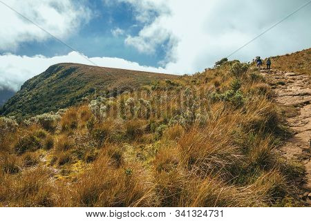 Cambara Do Sul - Brazil, July 18, 2019. People On Rocky Trail Going Up To The Top Of Fortaleza Canyo