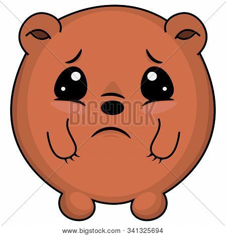 Sad Taddy Bear. Cartoon Illustration Of A Bear Looking Sad. Cute Bear: Sad, Crying, Weeping, Sobbing