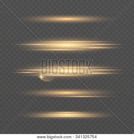 Set Of Vector Glowing Neon Light Effects. Abstract Golden Line With Radiance And Bokeh Effect.flash