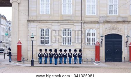 Copenhagen, Denmark - Jul 06th, 2015: Royal Guard In Amalienborg Castle At Royal Palace In Frederiks