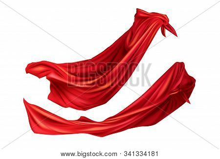 Red Cloaks Superhero Costume With Hoods Set. Silk Flattering Capes Side View On Different Positions