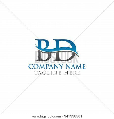 Bd Letter Logo With Water Wave Business Typography Vector Template. Creative Abstract Letter Bd Logo