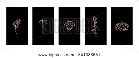 Set Black And Gold Stories Highlights Covers With A Butterfly, Diamond, Twig, Hand Holding A Rose An