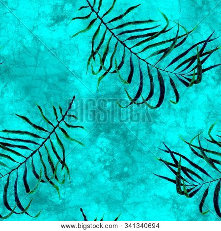 Tropical Seamless Pattern. Watercolor Scattered Palm Leaves, Japanese Bamboo. Turquoise Exotic Swimw