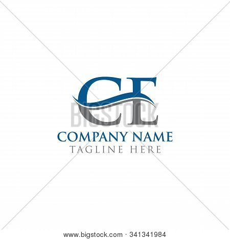 Initial Ce Letter Logo With Water Wave Business Typography Vector Template. Creative Abstract Letter