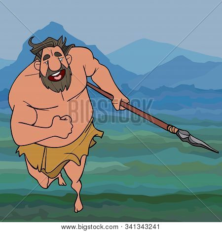 Cartoon Running Ancient Man Neanderthal Man With A Spear In His Hand