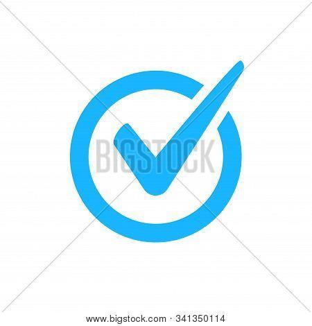 Check Mark Vector Icon. Checkmark Right Symbol Tick Sign. Ok Button Correct Circle Icon