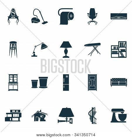 House Icons Set With Shelving Unit, Circular Staircase, Lamp And Other Ergonomic Armchair Elements.