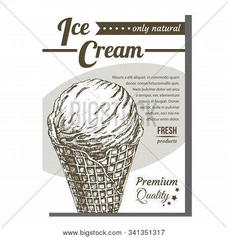 Ice Cream In Waffle Cornet Snow Cone Banner Vector. Whipped Milk Cold Gelato Sweet Dessert Ice Cream