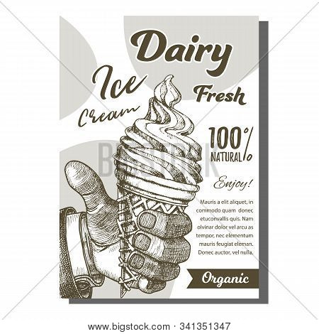 Man Hand Holding Ice Cream Cone Poster Vector. Delicious Sweet Cool Dessert Ice Cream Scoop In Waffl
