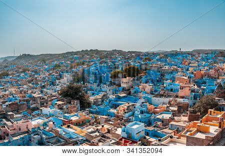 View Of The Old Town Of Jodhpur, India Blue City, A Famous Tourist Destination In Rajasthan And A Un