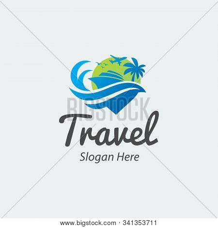Travelling And Tour Logo Iconic. Airplane, Yacht, Wave, And Pin. Branding For Tour And Travel, Trave