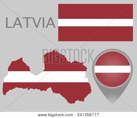 Colorful Flag, Map Pointer And Map Of Latvia In The Colors Of The Latvian Flag. High Detail. Vector