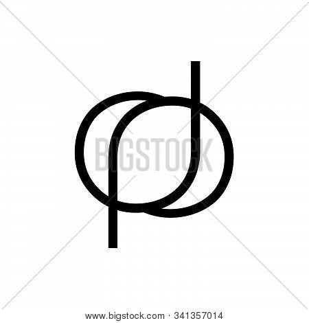 Dp, Dop, Pd, Pod Initials Line Art Geometric Company Logo