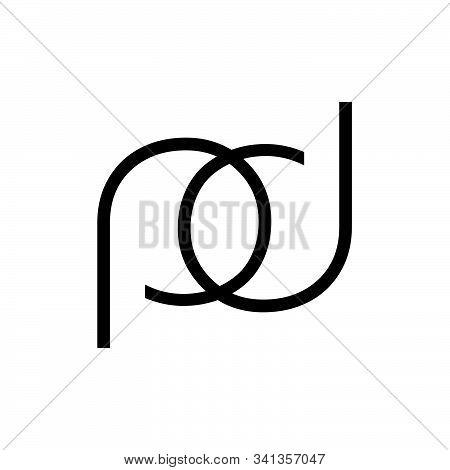 Pd, Pod, Dp, Dop Initials Line Art Geometric Company Logo