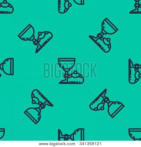 Blue Line Jewish Goblet And Hanukkah Sufganiyot Icon Isolated Seamless Pattern On Green Background.