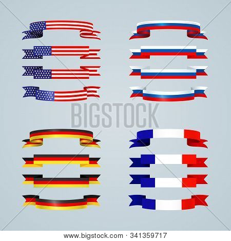 Flag Ribbon Of America Usa France Germany Russia Set Collection Of Bright Curved Flat Banner Ribbons