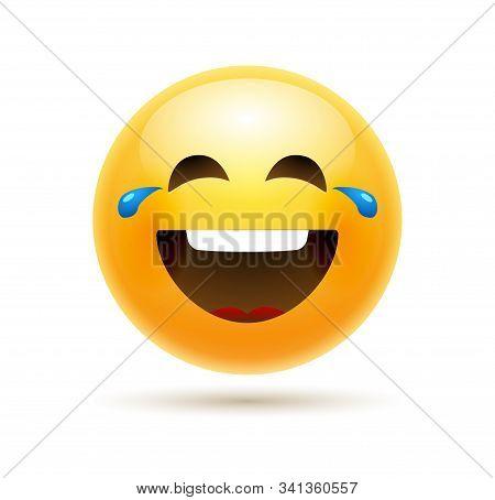 Lol Emoji Icon Smile Face. Emoticon Joke Happy Cartoon Funny Lol Emoji Illustration