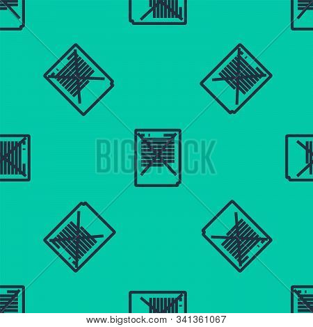 Blue Line Exam Paper With Incorrect Answers Survey Icon Isolated Seamless Pattern On Green Backgroun