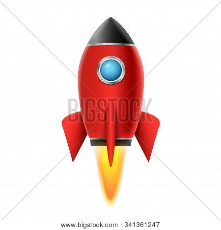 3d Rocket Space Ship Launch Background. Realistic Rocketship Spaceship Vector Design. Shuttle Creati
