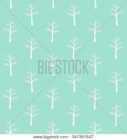 Vector Seamless Pattern Of White Hand Drawn Doodle Sketch Naked Tree Silhouette Isolated On Mint Bac