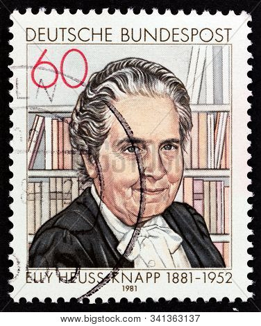 Germany - Circa 1981: A Stamp Printed In Germany Issued For The 100th Anniversary Of The Birth Of El