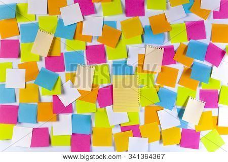 White Board Covered With Colourful Adhesive Notes